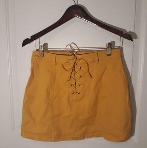 Yellow F21 lace up mini skirt